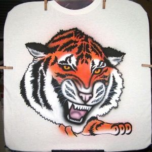 TIGER HEAD Airbrushed T-shirt Custom Made to Order